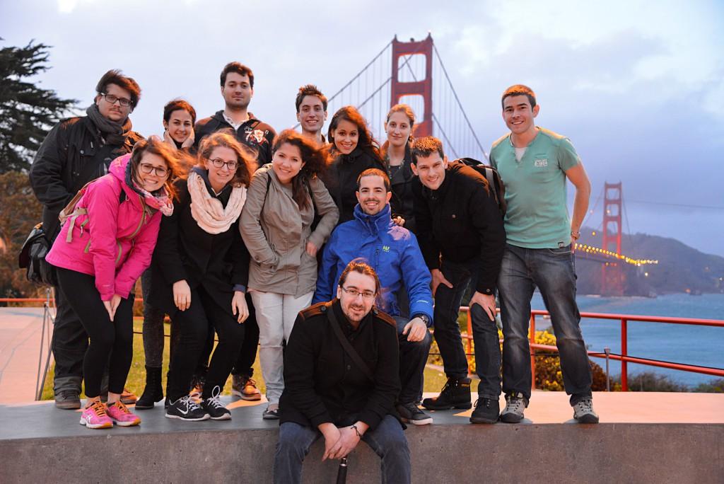 The international innovation team in front of the Golden Gate Bridge